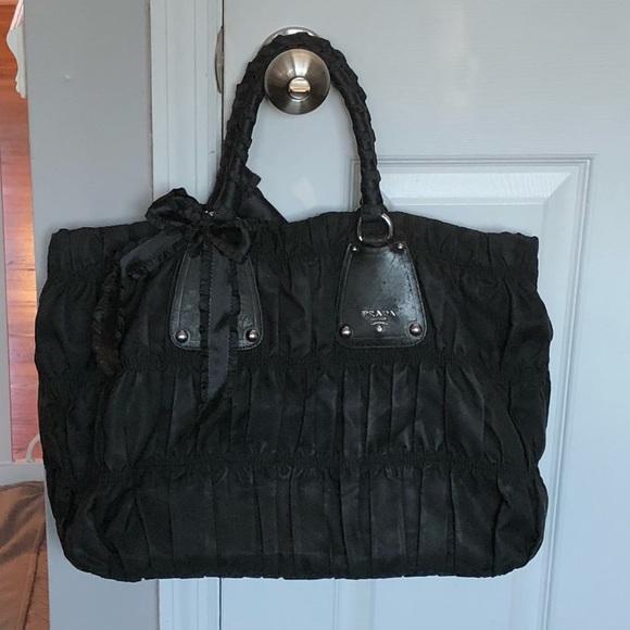 43d0ede6cec5 Prada Tessuto Gaufre Black Nylon Tote Bag Ruched. M_5a88b93b84b5ce8cb51229ab